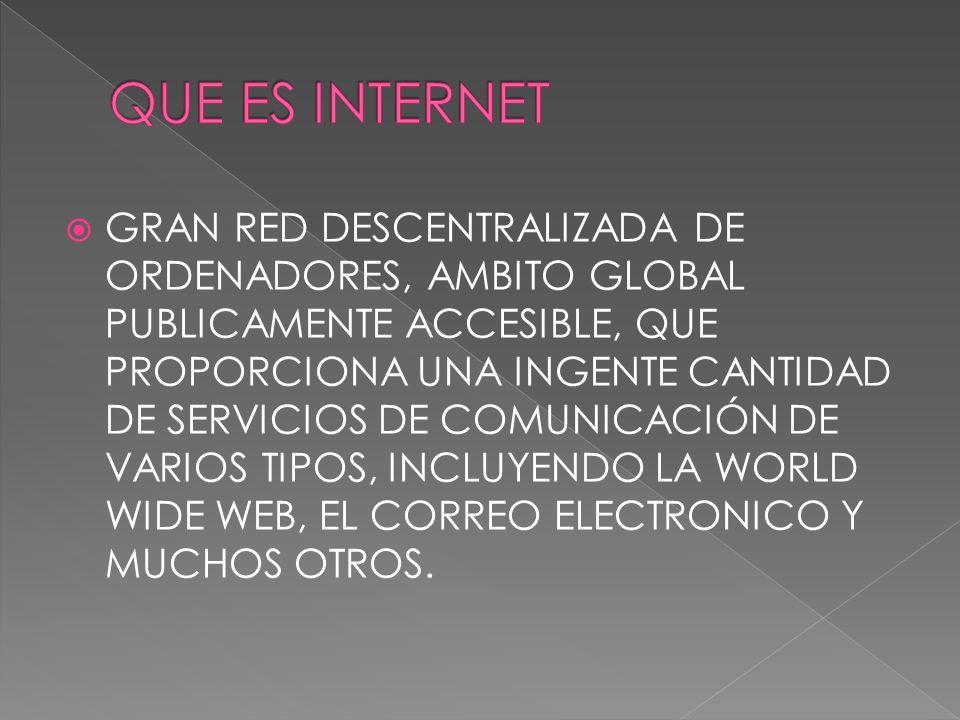 GRAN RED DESCENTRALIZADA DE ORDENADORES, AMBITO GLOBAL PUBLICAMENTE ACCESIBLE, QUE PROPORCIONA UNA INGENTE CANTIDAD DE SERVICIOS DE COMUNICACIÓN DE VA
