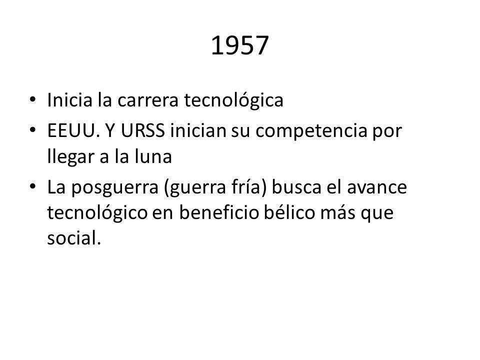 1957 Inicia la carrera tecnológica EEUU. Y URSS inician su competencia por llegar a la luna La posguerra (guerra fría) busca el avance tecnológico en