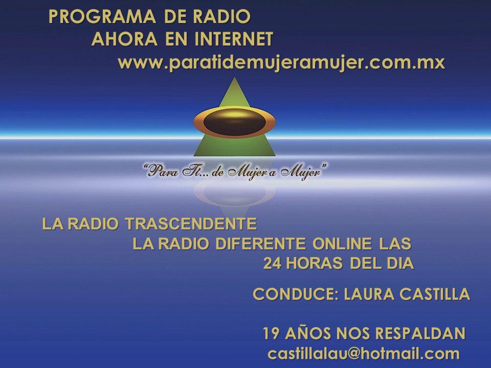 CONDUCE: LAURA CASTILLA 19 AÑOS NOS RESPALDAN castillalau@hotmail.com PROGRAMA DE RADIO AHORA EN INTERNET AHORA EN INTERNET www.paratidemujeramujer.co