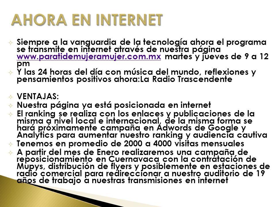 Siempre a la vanguardia de la tecnología ahora el programa se transmite en internet através de nuestra página www.paratidemujeramujer.com.mx martes y