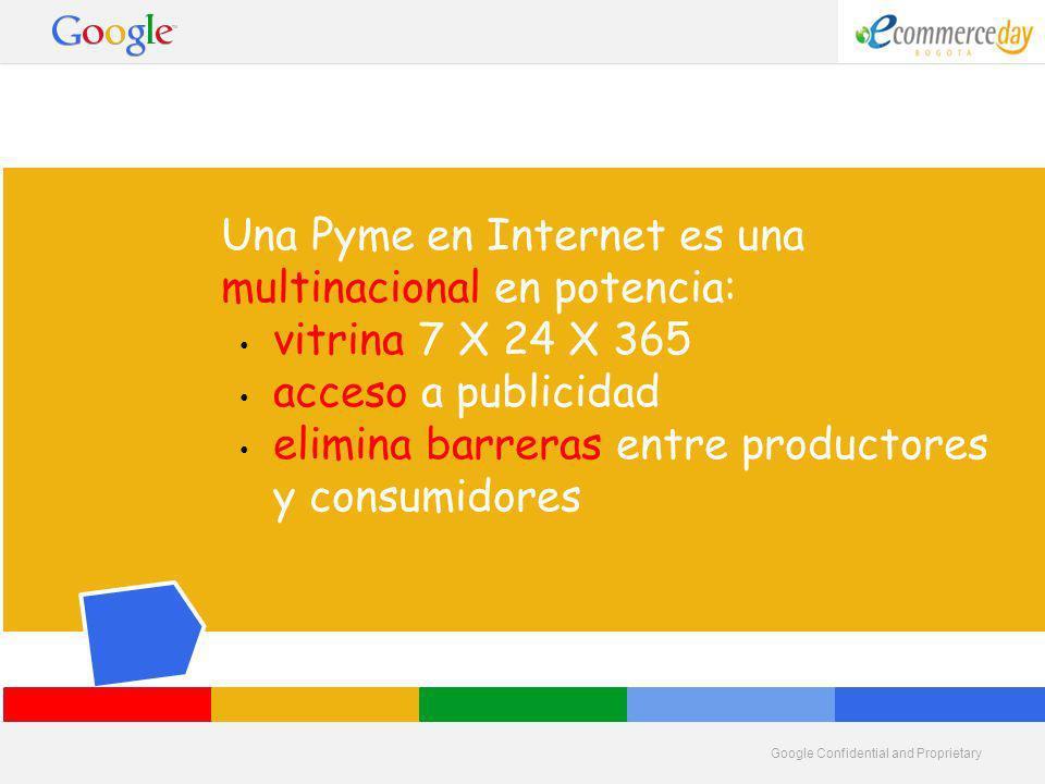 Google Confidential and Proprietary Una Pyme en Internet es una multinacional en potencia: vitrina 7 X 24 X 365 acceso a publicidad elimina barreras entre productores y consumidores