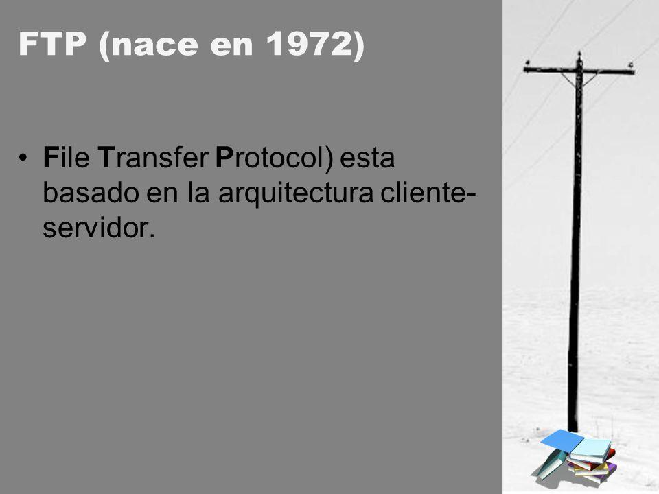 FTP (nace en 1972) File Transfer Protocol) esta basado en la arquitectura cliente- servidor.