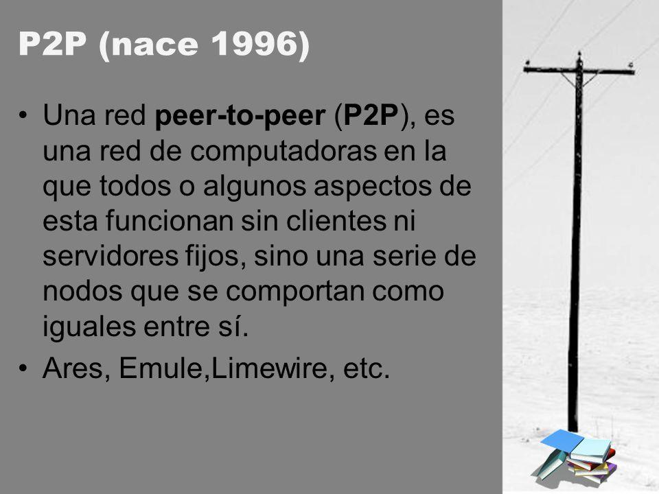 P2P (nace 1996) Una red peer-to-peer (P2P), es una red de computadoras en la que todos o algunos aspectos de esta funcionan sin clientes ni servidores