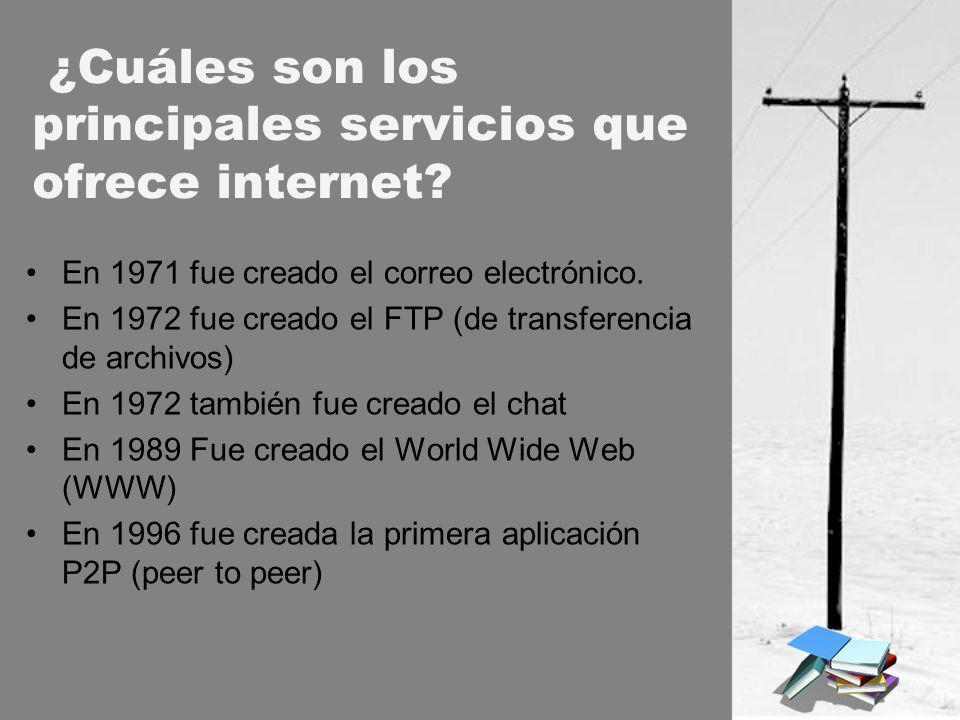 ¿Cuáles son los principales servicios que ofrece internet? En 1971 fue creado el correo electrónico. En 1972 fue creado el FTP (de transferencia de ar