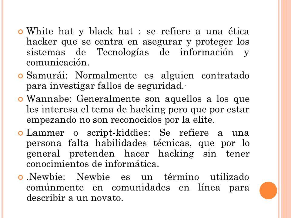 White hat y black hat : se refiere a una ética hacker que se centra en asegurar y proteger los sistemas de Tecnologías de información y comunicación.