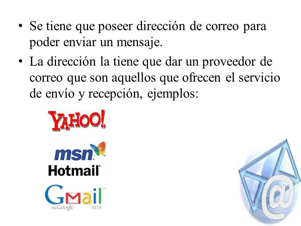 La dirección de correo electrónico es un conjunto de palabras que identifica a una persona que puede enviar y recibir correo.