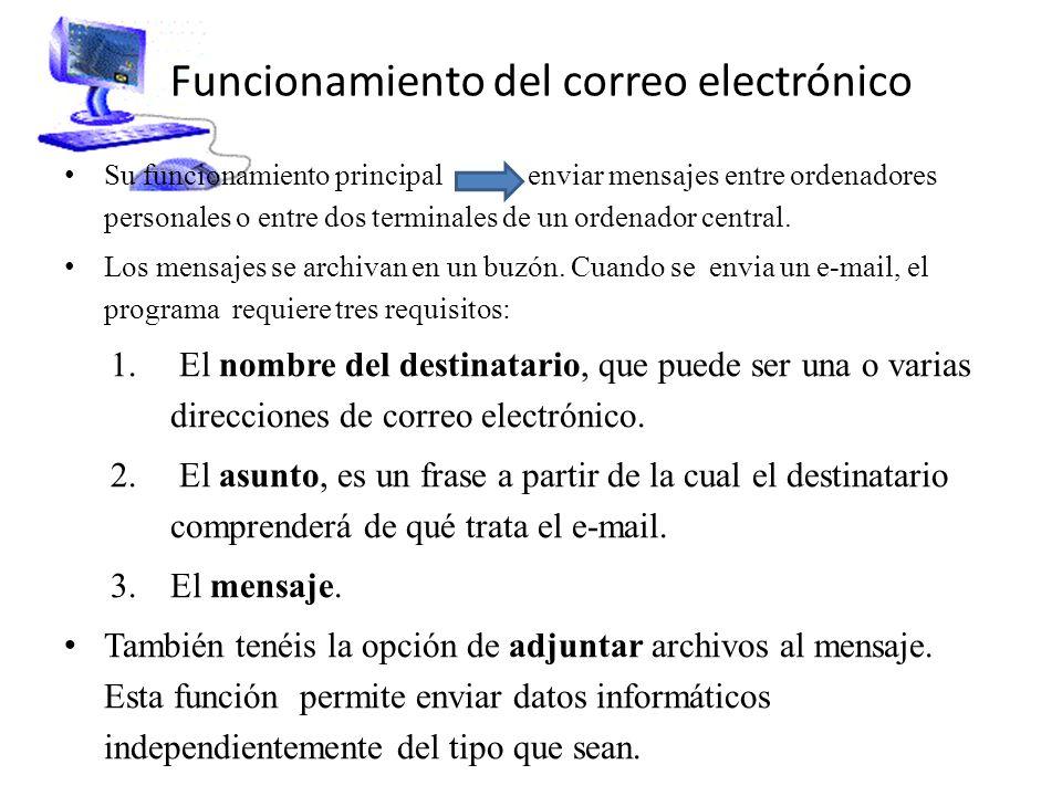Funcionamiento del correo electrónico Su funcionamiento principal enviar mensajes entre ordenadores personales o entre dos terminales de un ordenador central.
