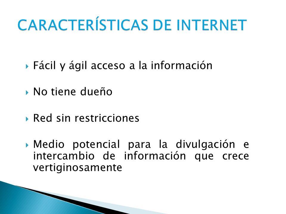 Fácil y ágil acceso a la información No tiene dueño Red sin restricciones Medio potencial para la divulgación e intercambio de información que crece v