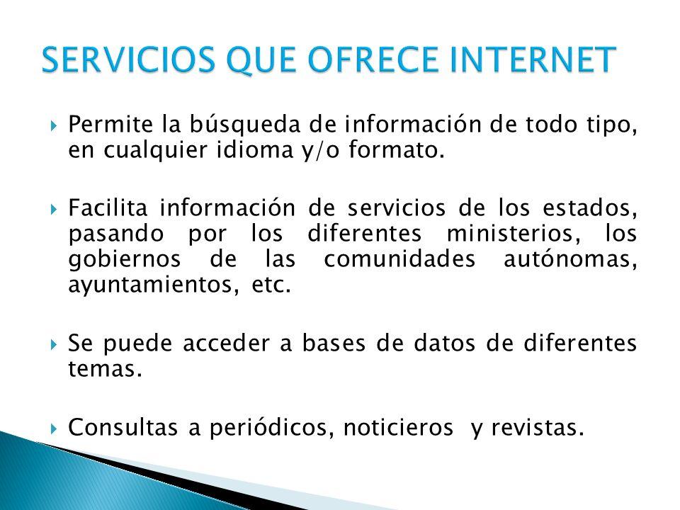 Permite la búsqueda de información de todo tipo, en cualquier idioma y/o formato. Facilita información de servicios de los estados, pasando por los di