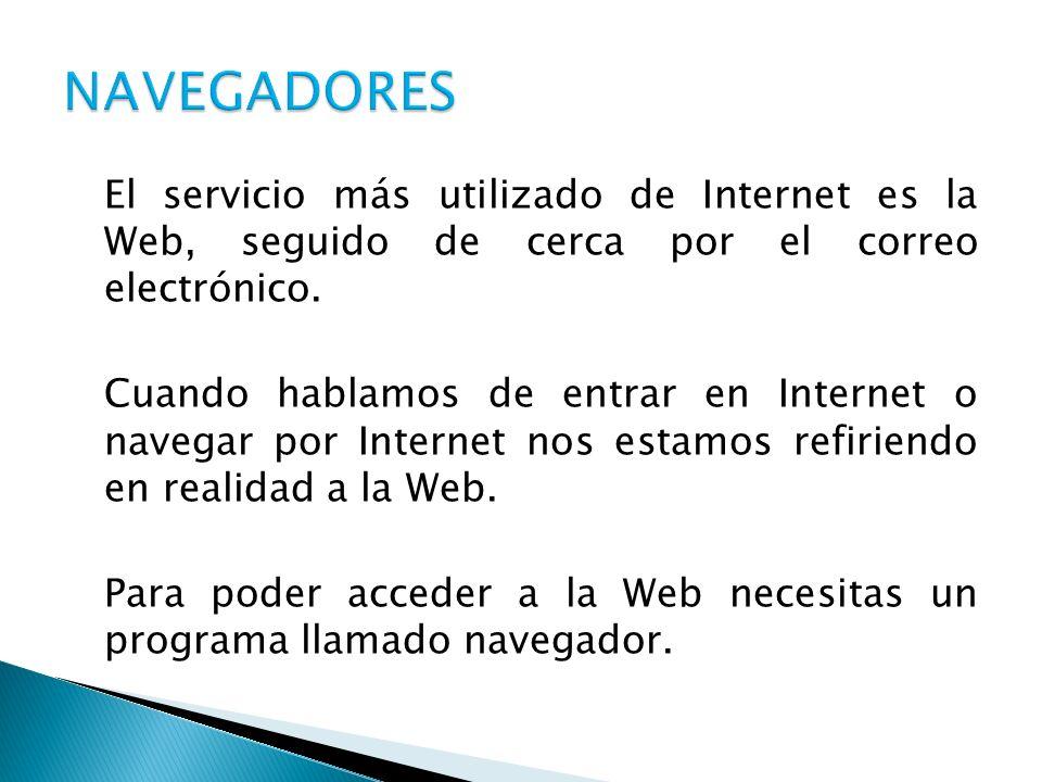 El servicio más utilizado de Internet es la Web, seguido de cerca por el correo electrónico. Cuando hablamos de entrar en Internet o navegar por Inter