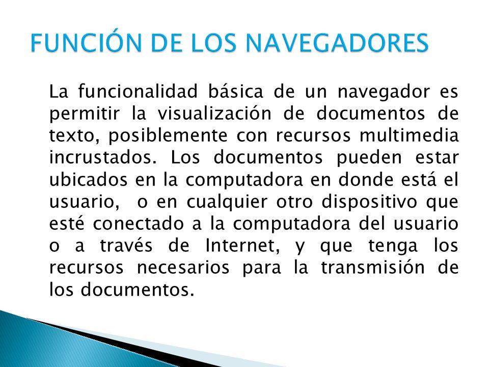 La funcionalidad básica de un navegador es permitir la visualización de documentos de texto, posiblemente con recursos multimedia incrustados. Los doc