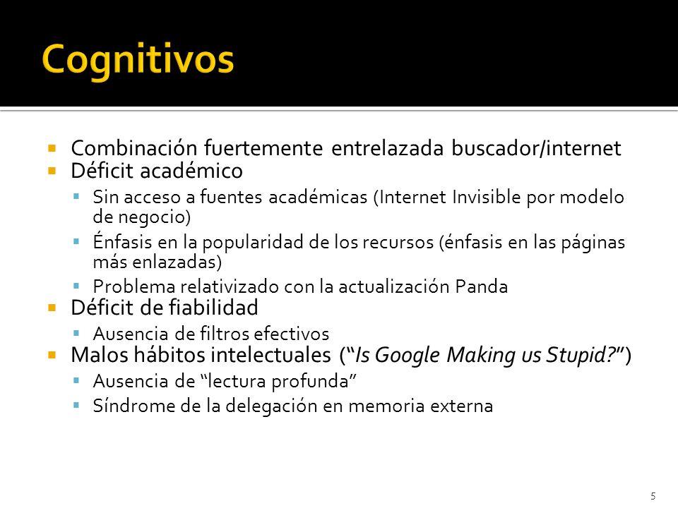 Combinación fuertemente entrelazada buscador/internet Déficit académico Sin acceso a fuentes académicas (Internet Invisible por modelo de negocio) Énf