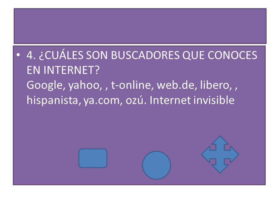 4.¿CUÁLES SON BUSCADORES QUE CONOCES EN INTERNET.