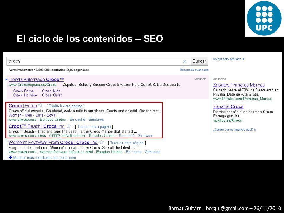 Bernat Guitart - bergui@gmail.com – 26/11/2010 El ciclo de los contenidos – SEO