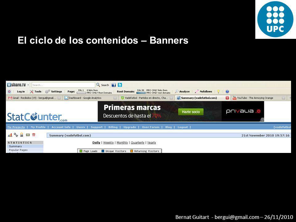 Bernat Guitart - bergui@gmail.com – 26/11/2010 El ciclo de los contenidos – Banners