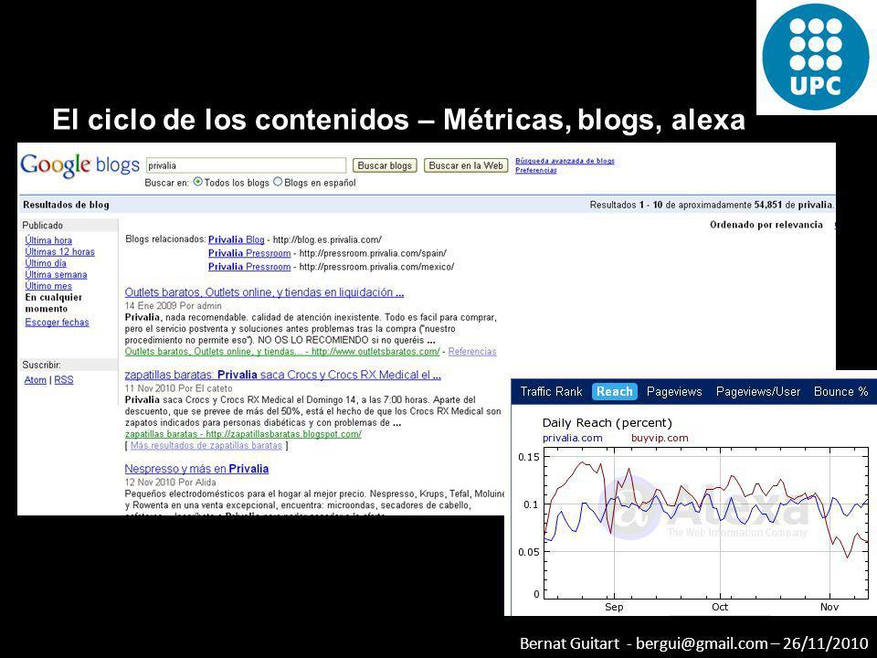 Bernat Guitart - bergui@gmail.com – 26/11/2010 El ciclo de los contenidos – Métricas, blogs, alexa