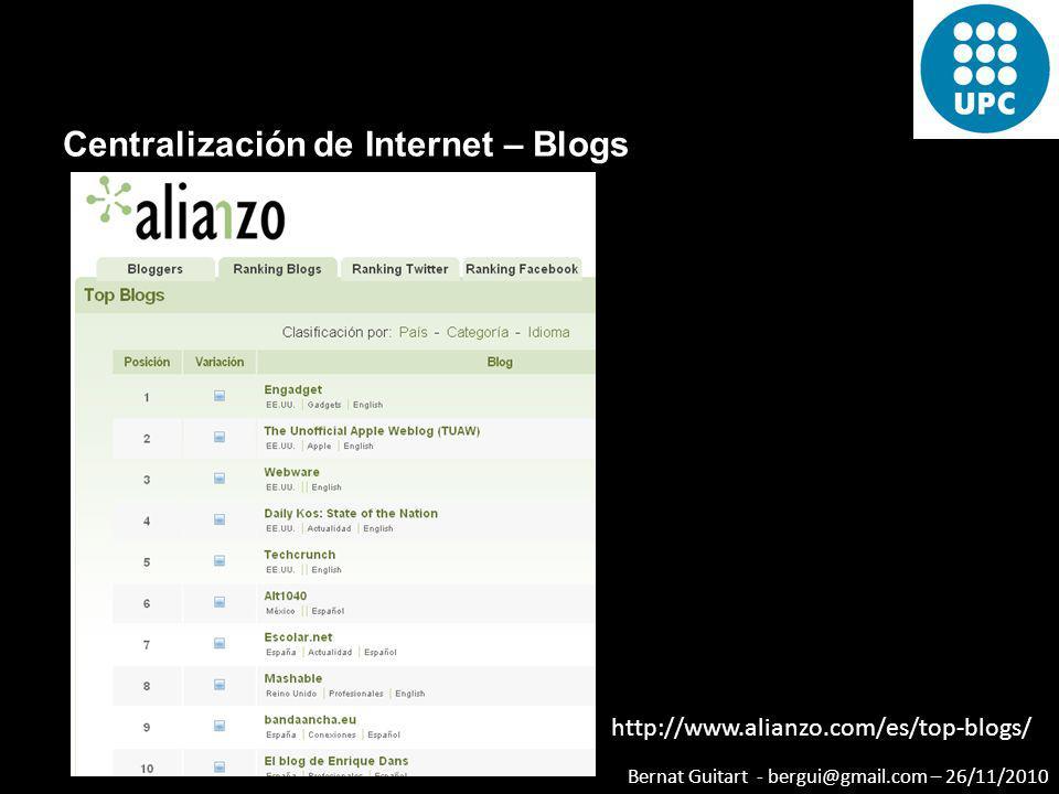 Bernat Guitart - bergui@gmail.com – 26/11/2010 Centralización de Internet – Blogs http://www.alianzo.com/es/top-blogs/