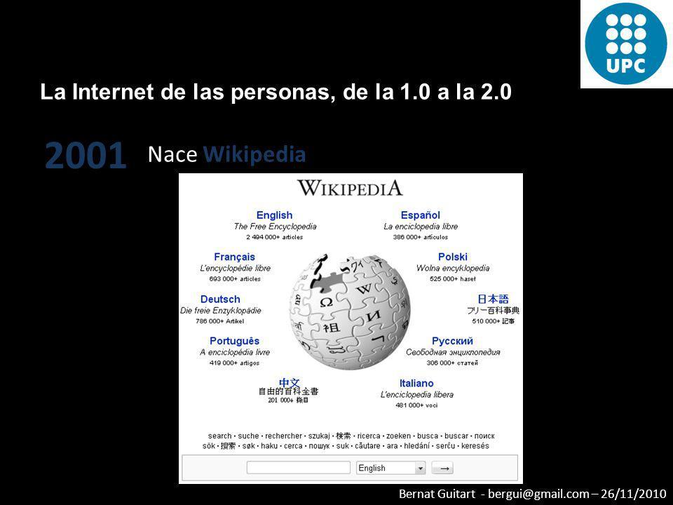 Bernat Guitart - bergui@gmail.com – 26/11/2010 La Internet de las personas, de la 1.0 a la 2.0 2000 Se consolidan Amazon y Google y nacen los Creative Commons
