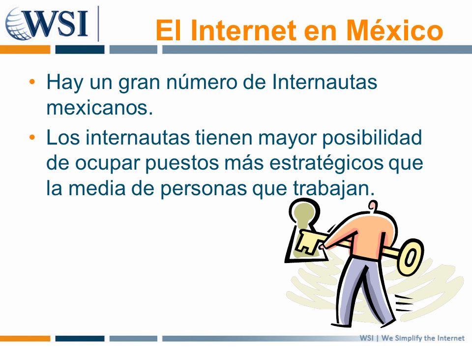 El Internet en México Hay un gran número de Internautas mexicanos. Los internautas tienen mayor posibilidad de ocupar puestos más estratégicos que la