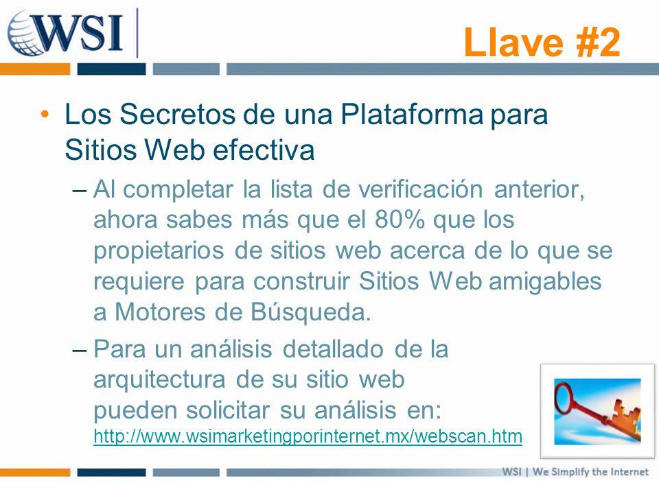 Llave #2 Los Secretos de una Plataforma para Sitios Web efectiva –Al completar la lista de verificación anterior, ahora sabes más que el 80% que los propietarios de sitios web acerca de lo que se requiere para construir Sitios Web amigables a Motores de Búsqueda.