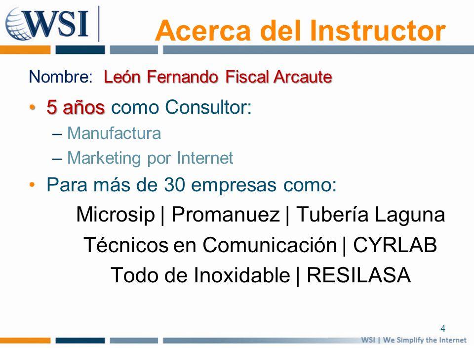 Acerca del Instructor 5 años5 años como Consultor: –Manufactura –Marketing por Internet Para más de 30 empresas como: Microsip | Promanuez | Tubería L