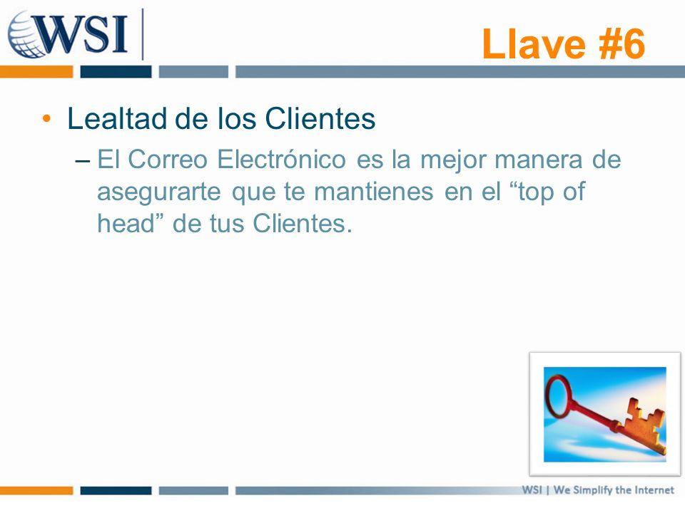 Llave #6 Lealtad de los Clientes –El Correo Electrónico es la mejor manera de asegurarte que te mantienes en el top of head de tus Clientes.
