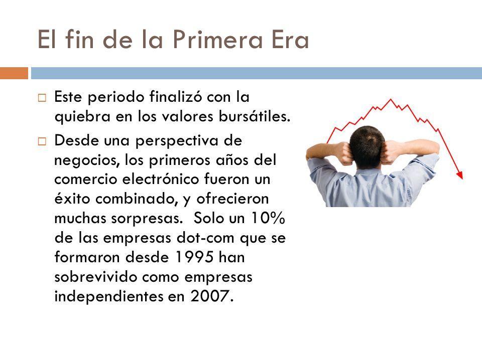 El fin de la Primera Era Este periodo finalizó con la quiebra en los valores bursátiles. Desde una perspectiva de negocios, los primeros años del come