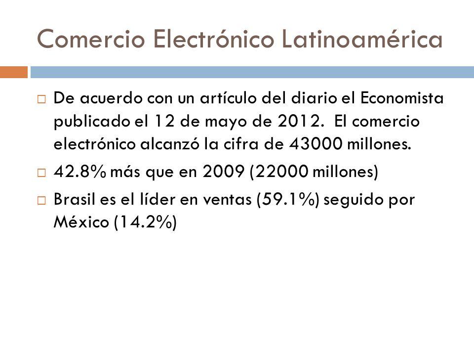 Comercio Electrónico Latinoamérica De acuerdo con un artículo del diario el Economista publicado el 12 de mayo de 2012. El comercio electrónico alcanz