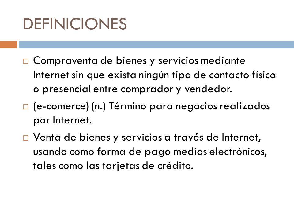 DEFINICIONES Compraventa de bienes y servicios mediante Internet sin que exista ningún tipo de contacto físico o presencial entre comprador y vendedor