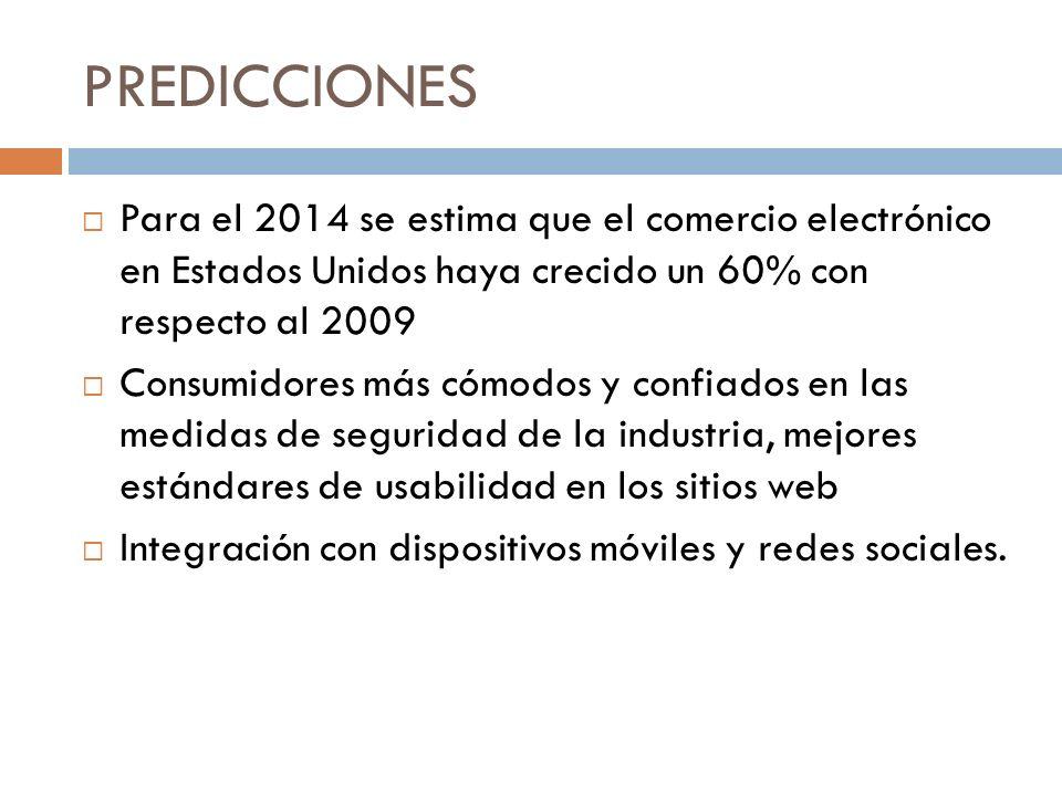 PREDICCIONES Para el 2014 se estima que el comercio electrónico en Estados Unidos haya crecido un 60% con respecto al 2009 Consumidores más cómodos y