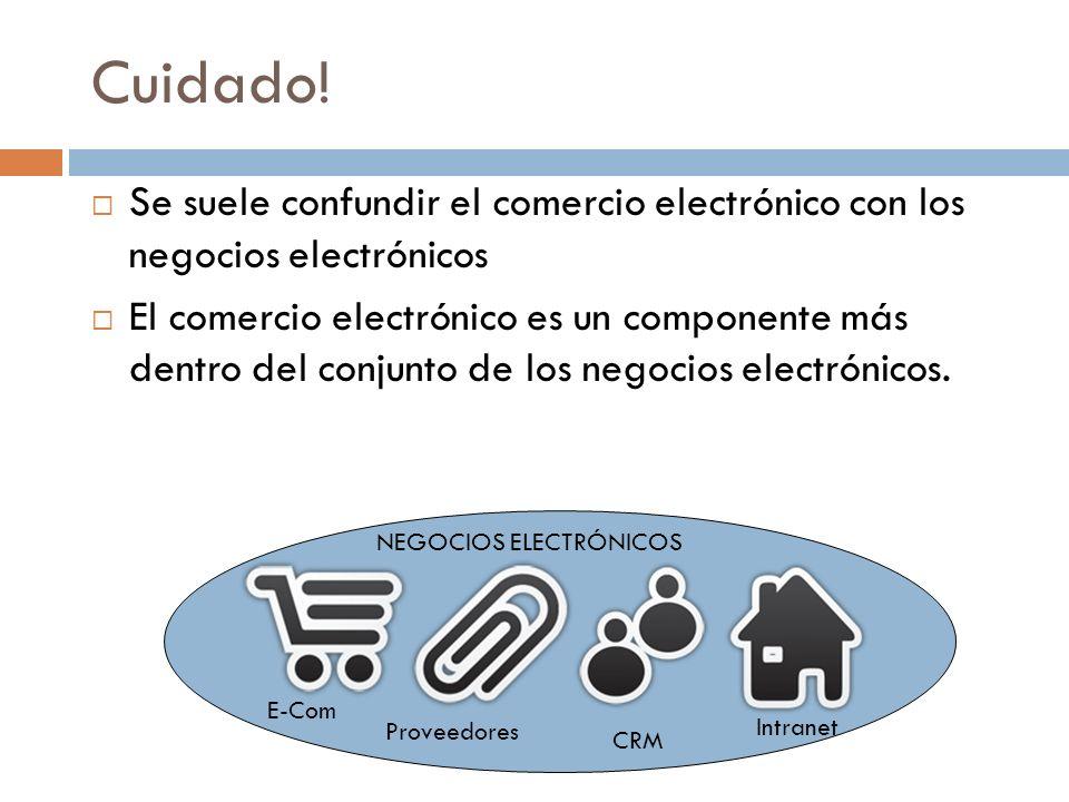 Cuidado! Se suele confundir el comercio electrónico con los negocios electrónicos El comercio electrónico es un componente más dentro del conjunto de