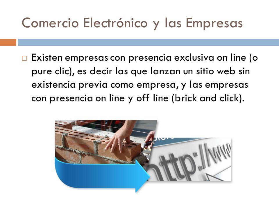 Comercio Electrónico y las Empresas Existen empresas con presencia exclusiva on line (o pure clic), es decir las que lanzan un sitio web sin existencia previa como empresa, y las empresas con presencia on line y off line (brick and click).