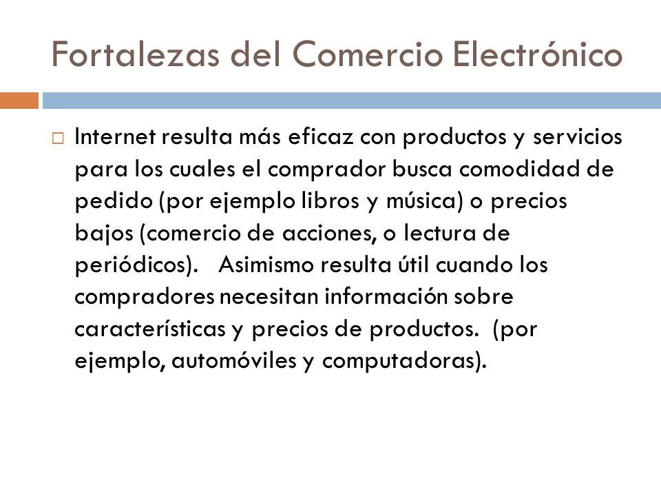 Fortalezas del Comercio Electrónico Internet resulta más eficaz con productos y servicios para los cuales el comprador busca comodidad de pedido (por ejemplo libros y música) o precios bajos (comercio de acciones, o lectura de periódicos).