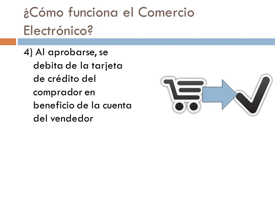 ¿Cómo funciona el Comercio Electrónico? 4) Al aprobarse, se debita de la tarjeta de crédito del comprador en beneficio de la cuenta del vendedor