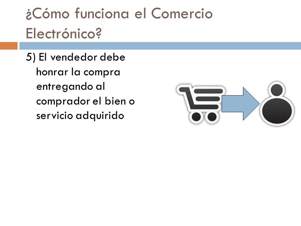 ¿Cómo funciona el Comercio Electrónico? 5) El vendedor debe honrar la compra entregando al comprador el bien o servicio adquirido
