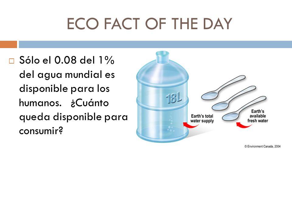 ECO FACT OF THE DAY Sólo el 0.08 del 1% del agua mundial es disponible para los humanos. ¿Cuánto queda disponible para consumir?