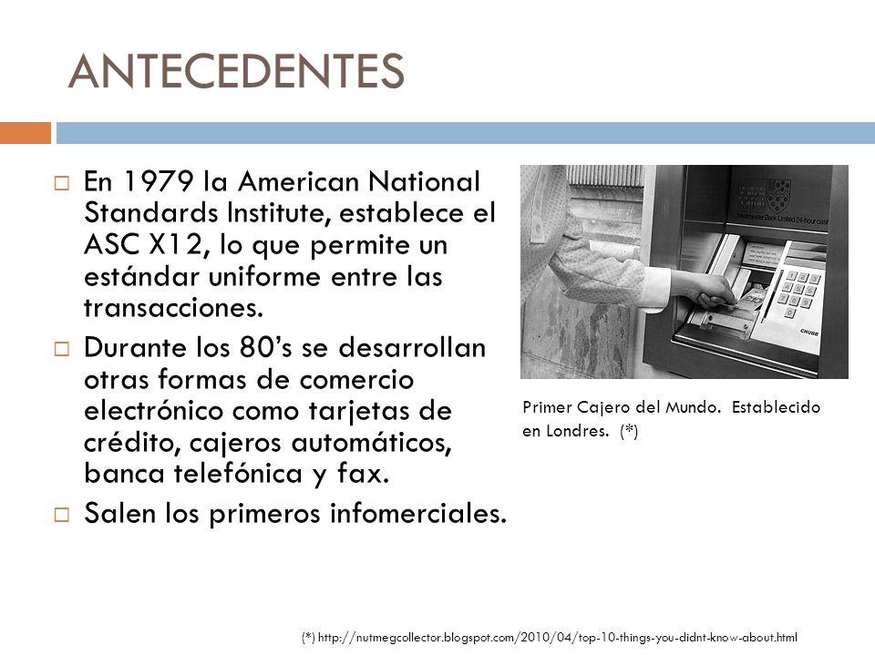ANTECEDENTES En 1979 la American National Standards Institute, establece el ASC X12, lo que permite un estándar uniforme entre las transacciones.