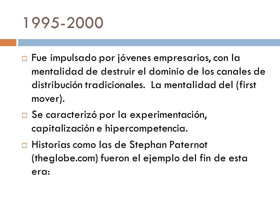 1995-2000 Fue impulsado por jóvenes empresarios, con la mentalidad de destruir el dominio de los canales de distribución tradicionales. La mentalidad