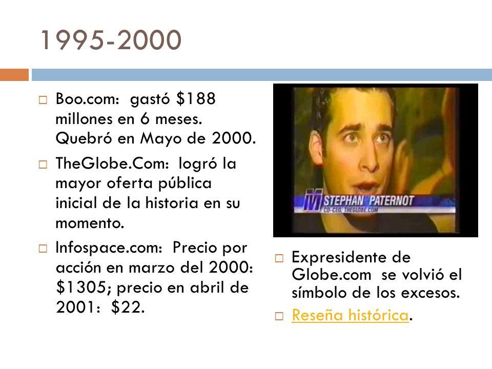 1995-2000 Boo.com: gastó $188 millones en 6 meses. Quebró en Mayo de 2000. TheGlobe.Com: logró la mayor oferta pública inicial de la historia en su mo