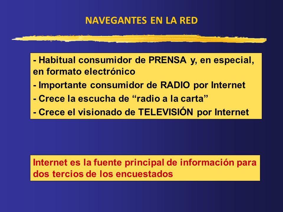 NAVEGANTES EN LA RED - Habitual consumidor de PRENSA y, en especial, en formato electrónico - Importante consumidor de RADIO por Internet - Crece la e