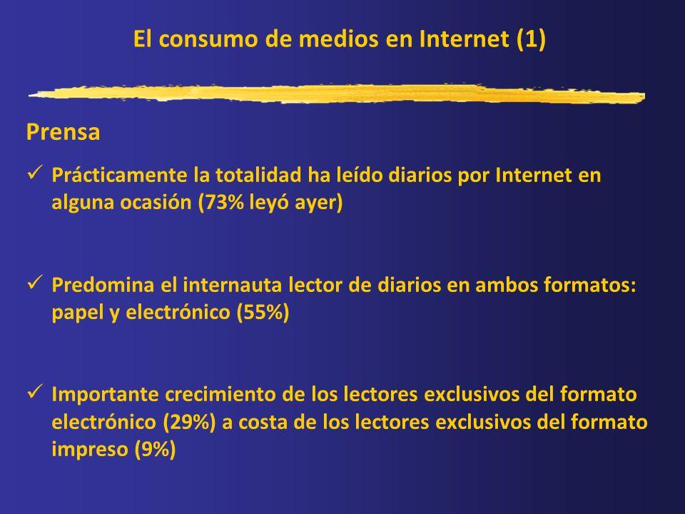 El consumo de medios en Internet (1) Prensa Prácticamente la totalidad ha leído diarios por Internet en alguna ocasión (73% leyó ayer) Predomina el in