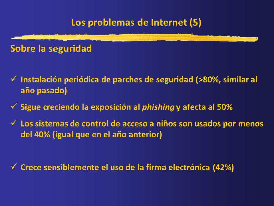 Los problemas de Internet (5) Sobre la seguridad Instalación periódica de parches de seguridad (>80%, similar al año pasado) Sigue creciendo la exposi