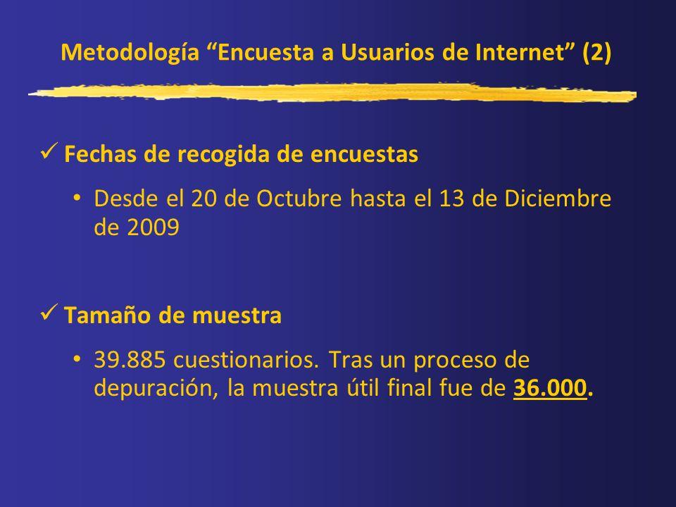 Metodología Encuesta a Usuarios de Internet (2) Fechas de recogida de encuestas Desde el 20 de Octubre hasta el 13 de Diciembre de 2009 Tamaño de mues
