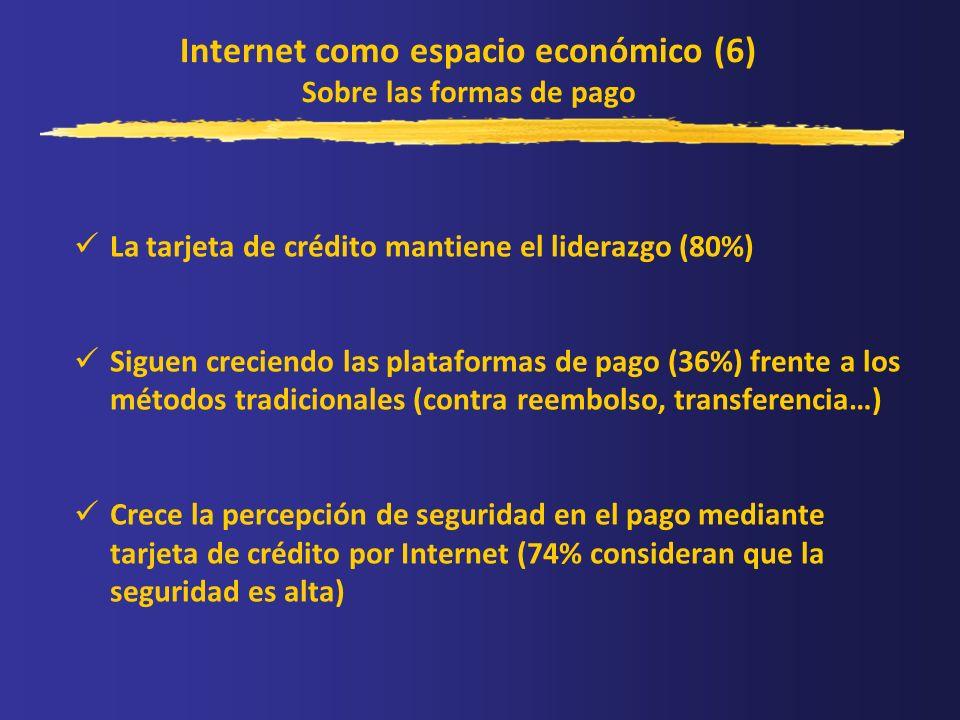 Internet como espacio económico (6) Sobre las formas de pago La tarjeta de crédito mantiene el liderazgo (80%) Siguen creciendo las plataformas de pag