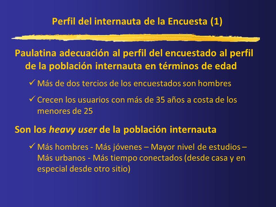 Perfil del internauta de la Encuesta (1) Paulatina adecuación al perfil del encuestado al perfil de la población internauta en términos de edad Más de