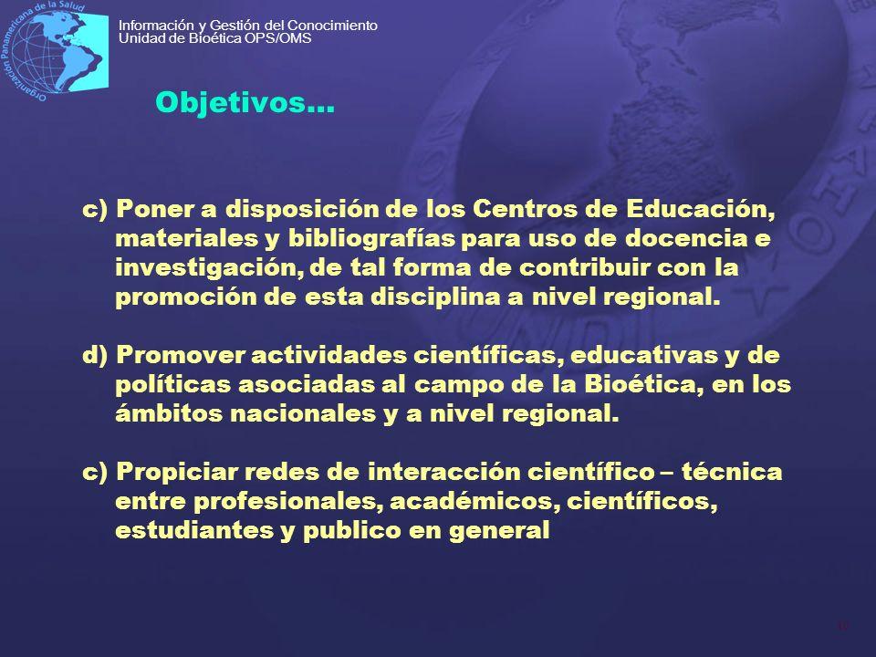 10 Información y Gestión del Conocimiento Unidad de Bioética OPS/OMS Objetivos… c) Poner a disposición de los Centros de Educación, materiales y bibli