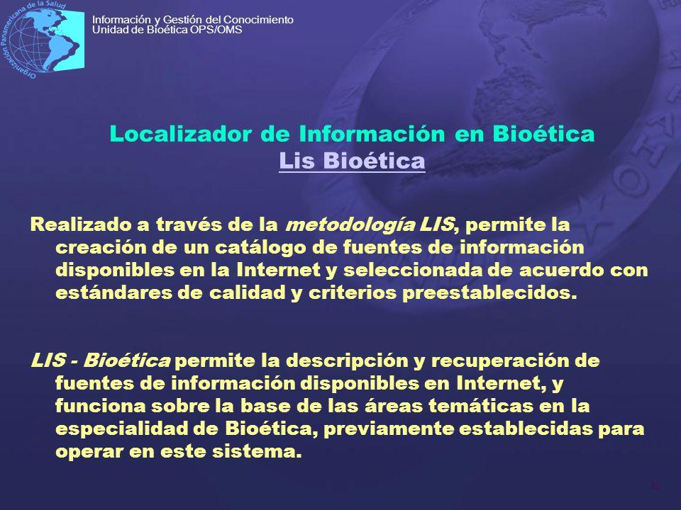 12 Información y Gestión del Conocimiento Unidad de Bioética OPS/OMS Localizador de Información en Bioética Lis Bioética Lis Bioética Realizado a trav