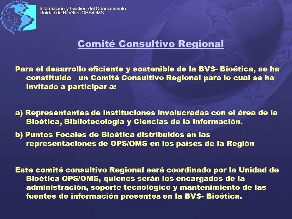 15 Información y Gestión del Conocimiento Unidad de Bioética OPS/OMS Comité Consultivo Regional Para el desarrollo eficiente y sostenible de la BVS- B