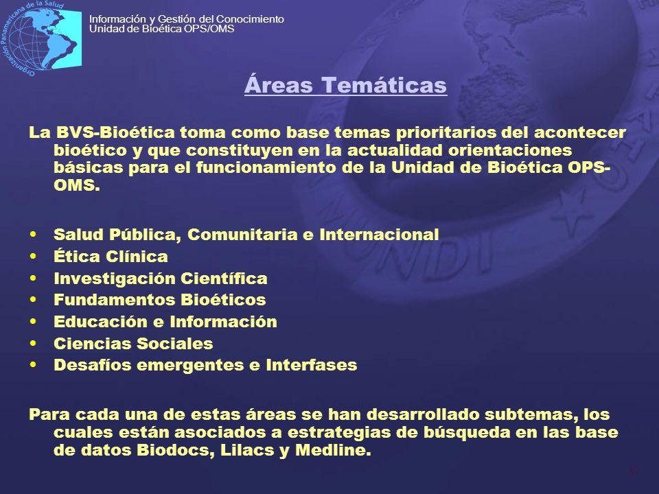 17 Información y Gestión del Conocimiento Unidad de Bioética OPS/OMS Áreas Temáticas La BVS-Bioética toma como base temas prioritarios del acontecer b