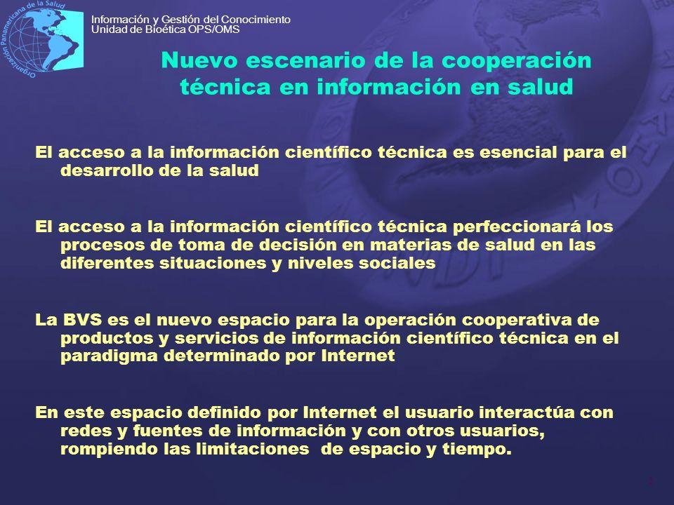 2 Información y Gestión del Conocimiento Unidad de Bioética OPS/OMS Nuevo escenario de la cooperación técnica en información en salud El acceso a la i